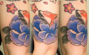 Fox and Peony tattoo