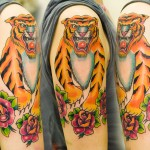 Tiger & Roses tattoo