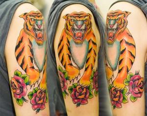 Tiger & Roses tattoo