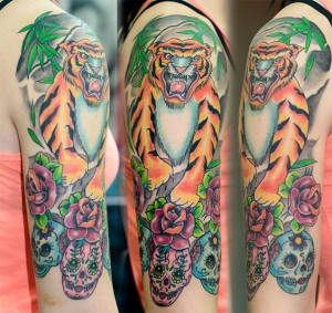 Tiger & Sugar Skulls tattoo