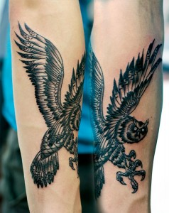 Black&gray owl tattoo
